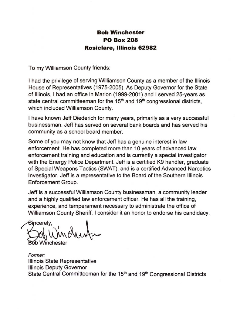 Endorsement for Williamson County Sheriff Candidate 2022 from Bob Winchester