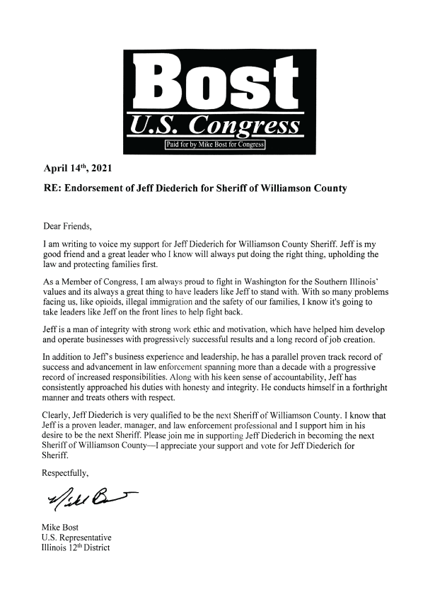 Mike Bost Endorsement Letter for Williamson County Sheriff Candidate Jeff Diederich 2022